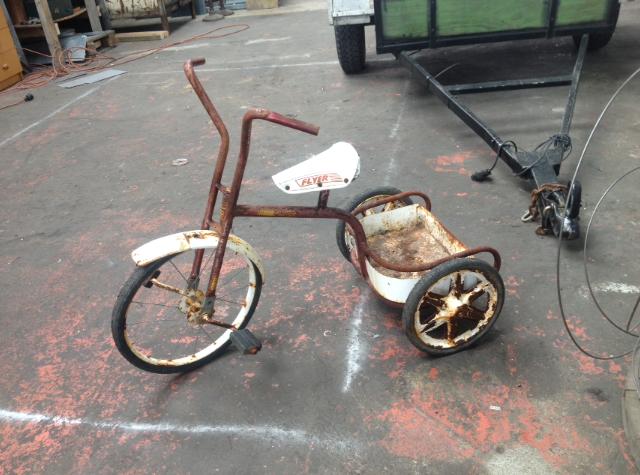 Tricycle Restoration Parts : Old school flyer trike restoration brass copper